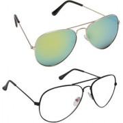 Magjons Fashion Combo Of Green And Clear Lens Aviator Sunglasses