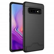 Samsung Ultra-dunne TPU + PC geborsteld textuur schokbestendige beschermhoes voor Galaxy S10 met houder & kaartsleuf (zwart)