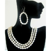 Rice Freshwater Pearls 3 Stranded Bridal Bridesmaid Wedding Jewelry Set