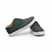 Zapatillas Plana Zapatos Casuales Lona Y Mate De Ecocuero Para Hombre -Verde Oscuro