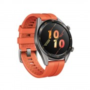 HUAWEI WATCH GT Active Titanium Grey Stainless Steel Orange Fluoroelastomer Strap.