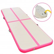 vidaXL Надуваем дюшек за гимнастика с помпа, 700x100x10 см, PVC, розов