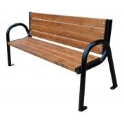 Zahradní lavice LRZO 180 cm s opěrkou, ocel, smrk, lakovaná - 180