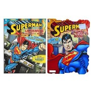 Superman Coloring and Activity Book Set With Stickers And Posters (2 Books)