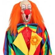 Geen Clown pruik oranje met kaal voorhoofd