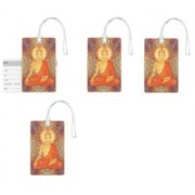 100yellow Luggage Tags- Lord Buddha Printed High Quality PVC Tag with Silicon Strap- Ideal For Travel-Pack Of 4 Luggage Tag(Multicolor)