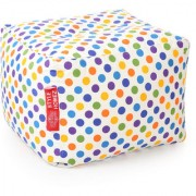 Style Homez Square Cotton Canvas Polka Dots Printed Bean Bag Ottoman Stool Large with Beans Multi Color