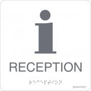 "Taktil skylt ""Reception"" Vit"