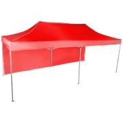 Gyorsan összecsukható sátor 3x6 m - alumínium, Piros, 1 oldalfal