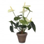 Merkloos Kunstplant anthurium wit flamingoplant in pot 40 cm - Kunstplanten