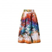 Impresión Digital Faldas Plisadas Imitación De Satén -12#