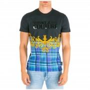 Versace Jeans Couture T-shirt maglia maniche corte girocollo uomo check baroque