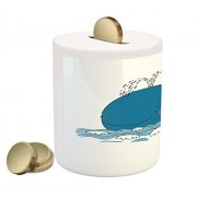 Whale Coin Box Bank by Ambesonne, Sea Mammal Caricature Swimming in the Ocean and Splashing Water with Seagull, Printed Ceramic Coin Bank Money Box for Cash Saving, Blue and White