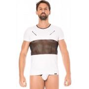 Lookme Mesh Panel Zipper Short Sleeved T Shirt White 2004-81
