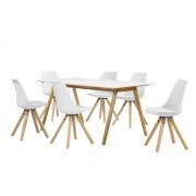 [en.casa]® Set de comedor mesa bambú / blanca 180x80 + 6 sillas blancas tapizadas piel sintética