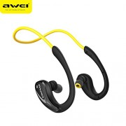 AWEI A880BL CVC6.0 Noise Reduction Wireless Sports Bluetooth Headset with Mic Support NFC Pairing - Yellow
