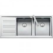 Chiuveta BARAZZA Easy 1LES12RS 116x50 cm cu 2 cuve si picurator pe partea stanga, Fabricatie Italia, Adancime cuva 215mm