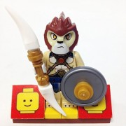 "Minifigure Packs: Lego Legends Of Chima Bundle ""(1) Lion Tribe Lion Warrior"" ""(1) Figure Display Base"" ""(2) Figure Accessorys (Rotatooth Sword & Flat Silver Shield)"""