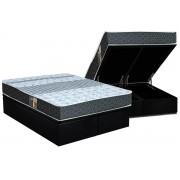 Conjunto Box Baú - Colchão Castor Molas Bonnel Class Slim Double Face + Cama Box Baú Nobuck Black - Conjunto Box Queen Size - 158 x 198