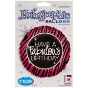 "Have A Fabulous Birthday Pink Zebra 18"" Mylar Foil Balloon"
