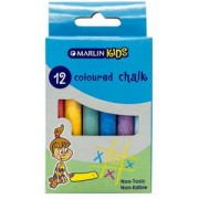Marlin Kids Coloured Chalk Pack of 12 Non-Toxic ,