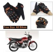 AutoStark Gloves KTM Bike Riding Gloves Orange and Black Riding Gloves Free Size For Honda CD