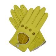 Manusi pentru condus de piele galben lamaie