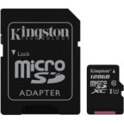 Kingston UHS-1 128 GB MicroSDXC Class 10 80 MB/s Memory Card(With Adapter)