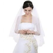 2T 2 Tier Pencil Edge Center Gathered Bridal Wedding Veil - Ivory Fingertip Length 36