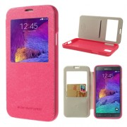 Korean WOW Window View Flip Cover for Samsung Galaxy Note 4 - Hot Pink
