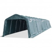 vidaXL Tenda para gado portátil PVC 3,3x16 m verde escuro