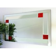 Florida Clear and Red Glass Bevelled Mirror 122X61cm