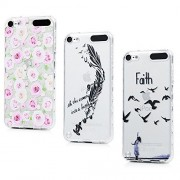 iPod Touch 6 Case, iPod Touch 5 Case, YOKIRIN 3 PACK Printing Series Slim Fit Ultra Thin Anti-slip Shock-absorption Flexible Soft TPU Case Flower Feather Birds Clear Transparent Cover Skin Shell