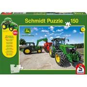 John Deere Schmidt 5M Series Tractor Jigsaw Puzzle with Siku Model (150-Piece)