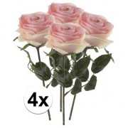 Bellatio flowers & plants 4 x Licht roze roos Simone 45 cm kunstplant steelbloem