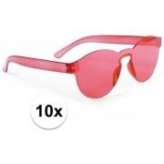10x Rode verkleed zonnebril voor volwassenen - Feest/party bril rood