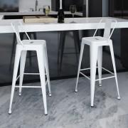 vidaXL Barové stoličky, 2 ks, štvorcové, biele
