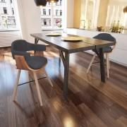 Трапезен стол с извита дървесна рамка и тапицерия от плат, 2 бр.