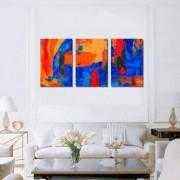 Tablou Canvas Premium Abstract Multicolor Foc Si Apa Decoratiuni Moderne pentru Casa 3 x 70 x 100 cm