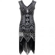 schede / kolom v-hals asymmetrische polyester cocktailparty homecoming jurk met paletten
