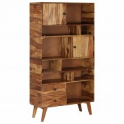 vidaXL Висок шкаф, шишамово дърво масив, 90x35x170 см
