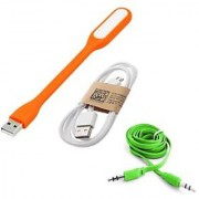 MO 3 in1 combo of LED Light Data Cable + Aux Cable