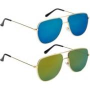 NuVew Retro Square Sunglasses(Golden, Green)