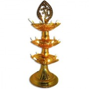 3 Layer New Electric Gold LED Bulb Lights Diya/Deep/Deepak for Pooja/Puja/Mandir Diwali Festival Decoration