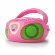 Roadie Boombox Aparelhagem CD USB MP3 Rádio AM/FM Bluetooth 2.1 LED Multicolor Rosa