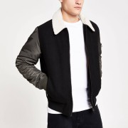 River Island Mens Black and khaki borg collar flight jacket (XXL)