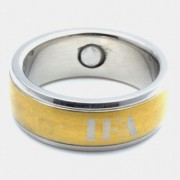 Inel cu magneti din otel inoxidabil stralucitor placat cu aur cod VOX 8008