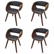 vidaXL Set of 4 Dining Chair with Padded Bentwood Seat