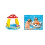 Pachet Piscina Gonflabila pentru Copii Tip Ciupercuta cu Parasolar Model 57114 102 x 89 cm + Barcuta Rechin Gonflabil pe
