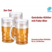Rosenstein & Söhne Doppelwandiger Getränke-Kühler als Scherz-Bierkrug, 0,3 l, 3er-Set